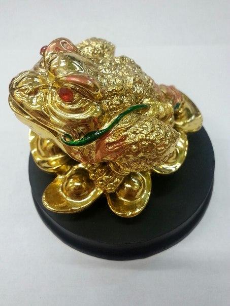 Фигурка Денежная Жаба золотая  на подставке 8см (Z-5, 7 см , 8 см)