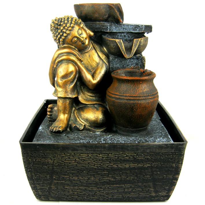 Фонтан Будда 24 см полистоун