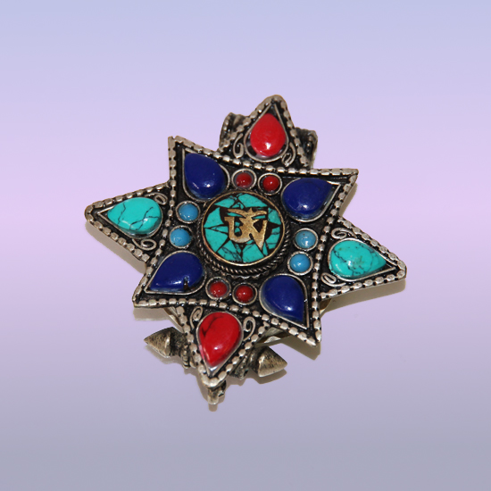 Подвеска контейнер звезда металл эмаль камни 5,5см-6 см непал (KAT2332)