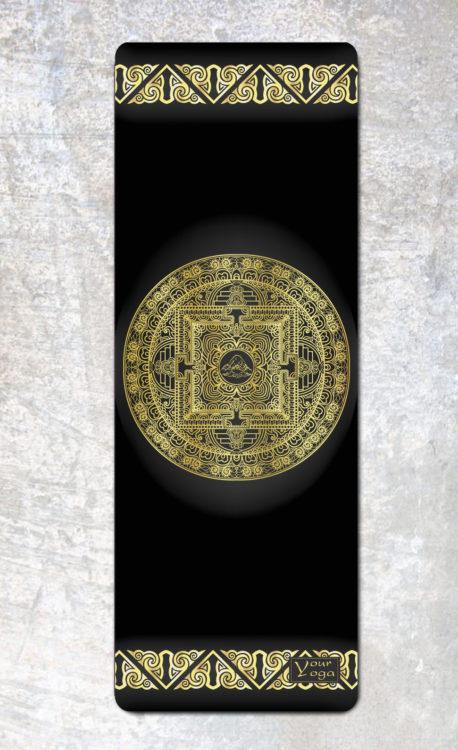 Коврик для йоги Tibet mandala Your Yoga из микрофибры (2.5 кг, 175 см, 3.5 мм, черный, 61 см) цена