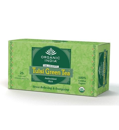 Чай в пакетиках зеленый туласи Tulasi green tea Organic India (25 шт) чай в банке органический имбирь тулси tulsi ginger organic india 100 г