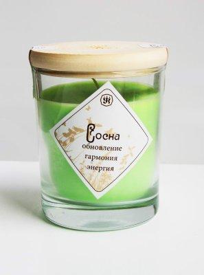Свеча ароматическая с эфирным маслом сосны (9 см/200 г/30 ч)