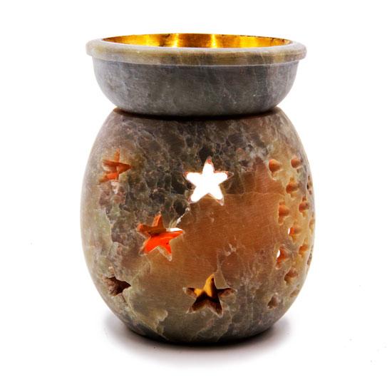 Аромалампа каменная ваза Звезды с латунным покрытием чашечки 8,5 см