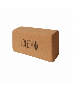 Кирпич для йоги из пробки с принтом Freedom YC ( коричневый 0.9 кг 7 см 22,5 см 11 см )
