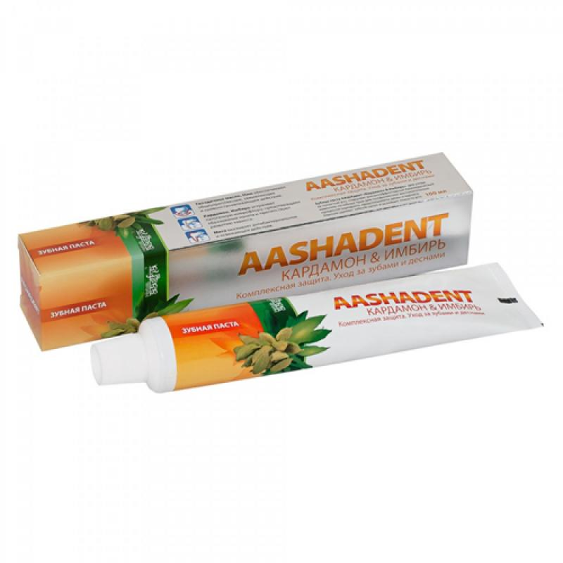 Зубная паста кардамон имбирь AashaDent (100 г) зубная паста корица кардамон aasha herbals