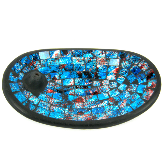 Подставка для благовоний керамическая овальная со стеклом синяя 13х21см (IN0316)