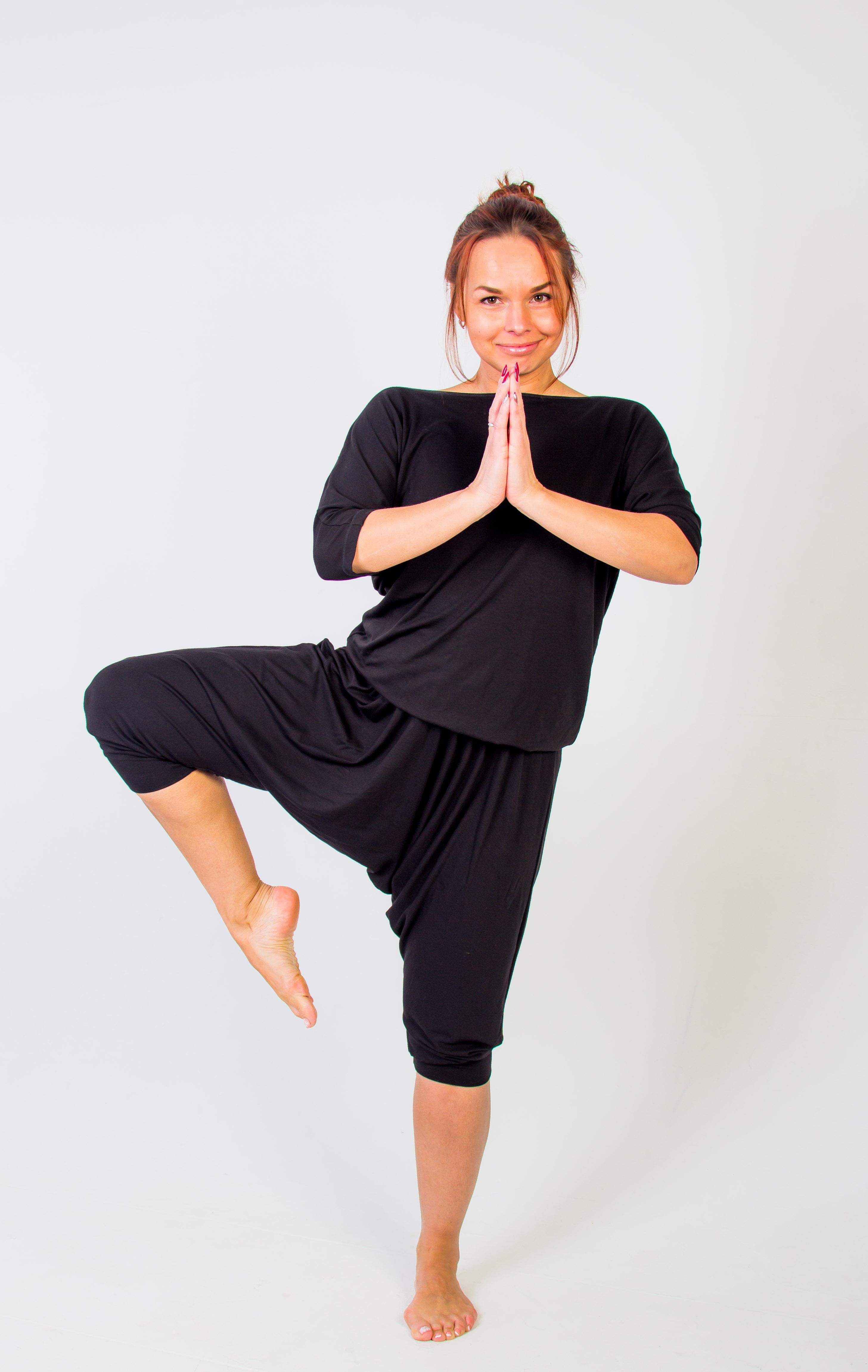 Комбинезон для йоги и фитнеса Свободный (L (50-52), черный)