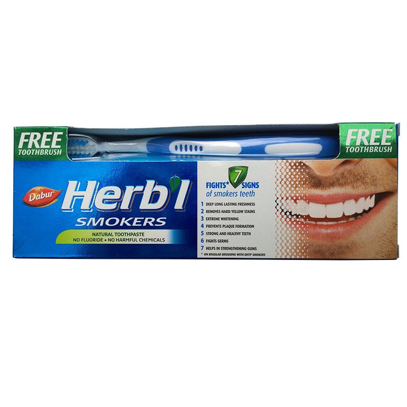 Зубная паста Smokers (для курильщиков) + зубная щетка Dabur Herbl (150 г) зубная паста для дёсен c нимом dabur щётка в подарок