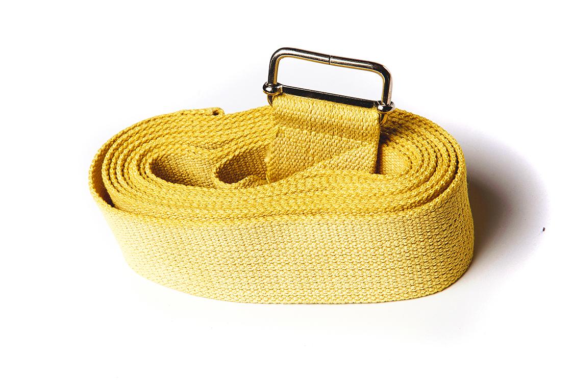 Ремень для йоги хлопковый Де люкс усиленный 270 см х 4см желтый (желтый)