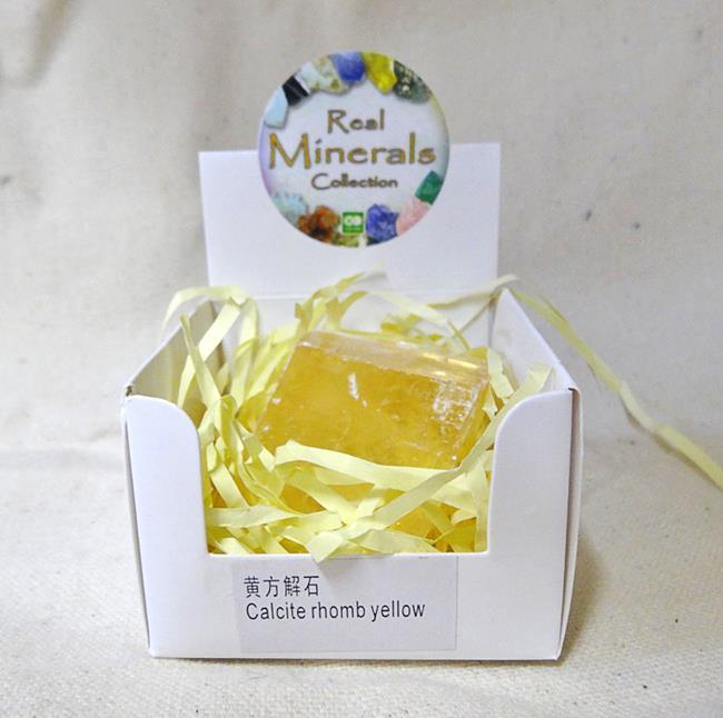 Кальцит Желтый Ромб минерал/камень в коробочке Real Minerals Collection