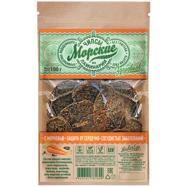 Морские чипсы из ламинарии с морковью Здоровцов (90 г)
