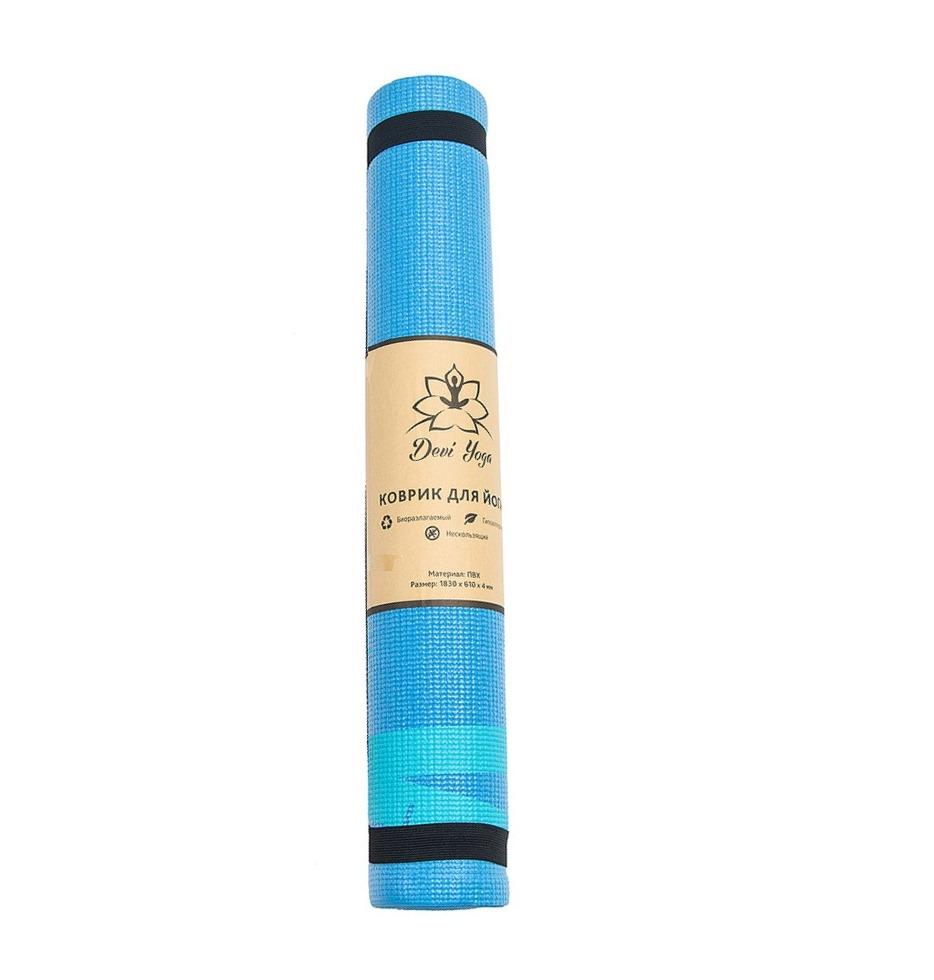 Фото - Коврик для йоги Бамбук DY (1 кг, 185 см, 4 мм, голубой, 61см) коврик тренировочный reebok yoga mat crosses hi цвет черный толщина 4 мм длина 173 см