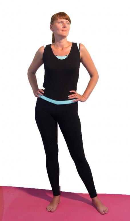 Комбинезон для йоги и фитнеса бирюзово-черный