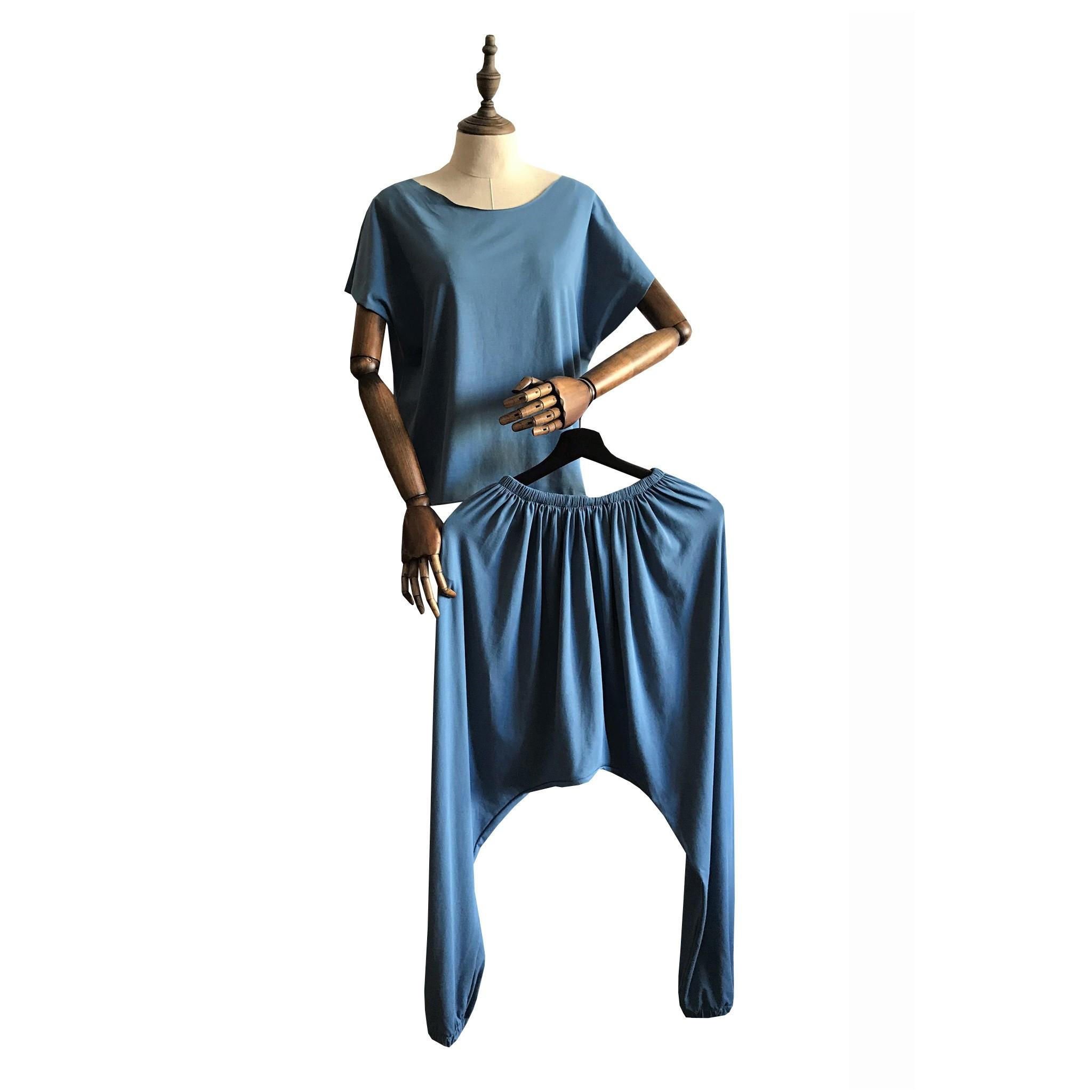 Шаровары зуавы укороченные унисекс РамаЙога (0,3 кг, OS (42-46), голубой) футболка для йоги женская free рамайога ramayoga голубой 0 3 кг 42 46