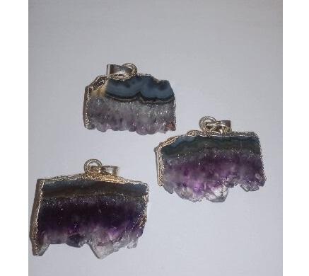 Подвеска из камня Аметист Плоский друза ювелирный сплав позолота 2,5 - 3,5 см бусины из необработанного камня в украине