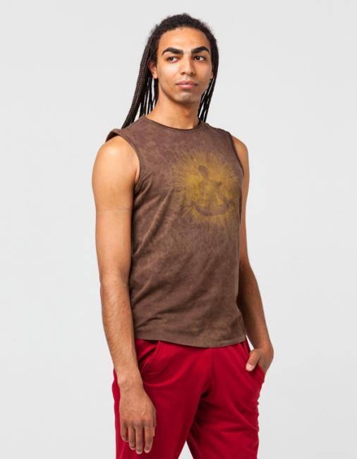 Майка мужская Медитация YogaDress (XL (52), коричневый)