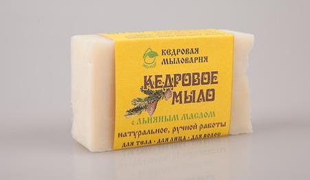 Мыло кусковое кедровое с льняным маслом (120 г) масло для проблемной кожи псораведика