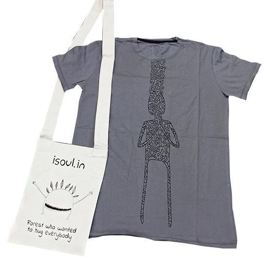 футболка мужская buddha isoul 0 3 кг l 48 белый Футболка мужская Pray iSoul (0,3 кг, S (44), серый)