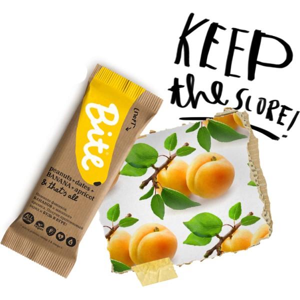 Батончик BITE Sport банан арахис финики абрикос (45 г) жёлтый цвет 7 9 месяцев