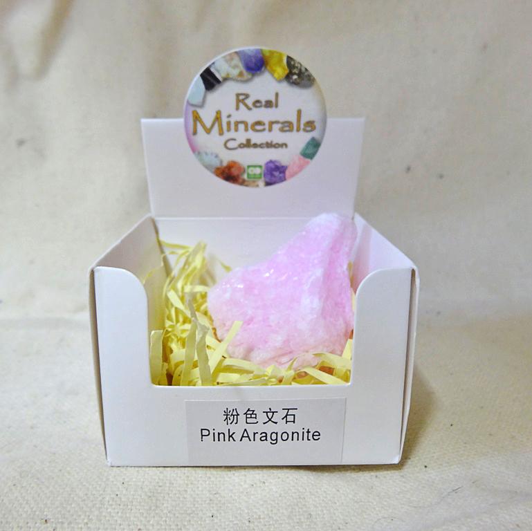 Арагонит розовый минерал/камень в коробочке Real Minerals Collection (Арагонит розовый)