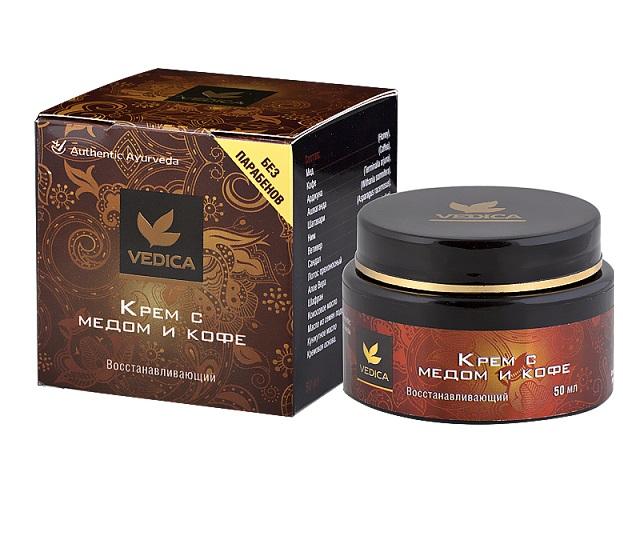 Крем для лица восстанавливающий с медом и кофе Veda Vedica