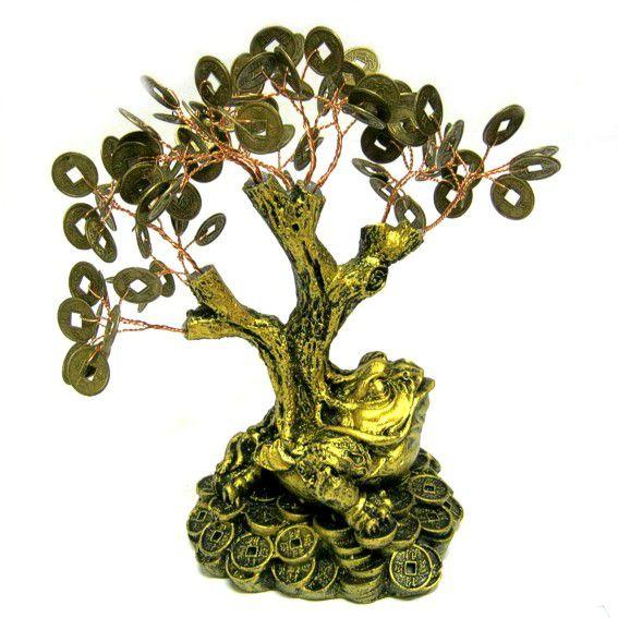 Денежное дерево на жабе под бронзу 20см (V014-1 0,3 кг) денежное дерево