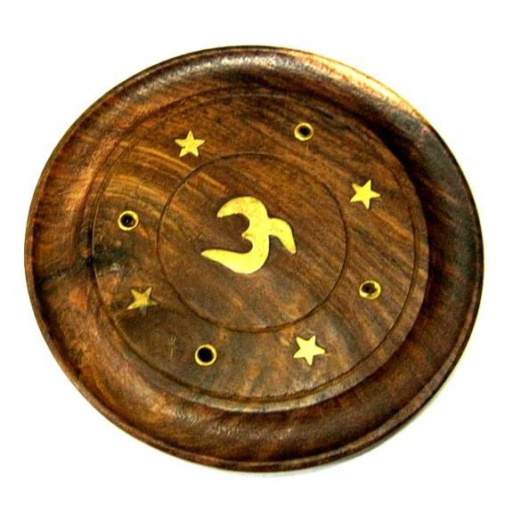 Подставка под благовония круглая деревянная с Ом 10см