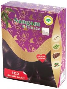 Краска натуральная на основе хны Черный бархат Sangam herbals (60 г)