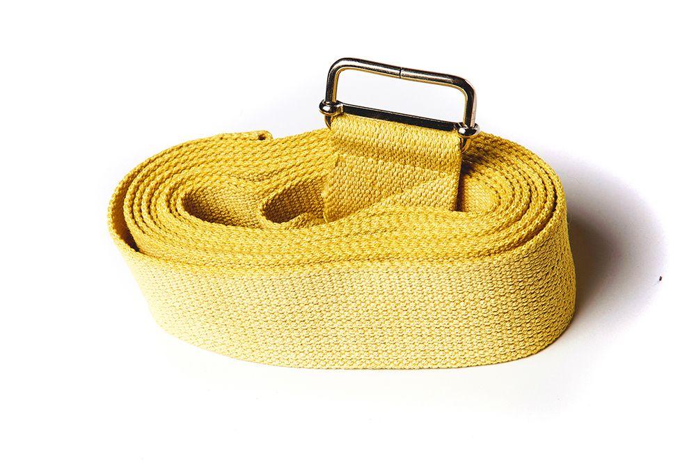Ремень для йоги хлопковый Де люкс цветной длиной 270 см Рамайога (0,2 кг, 270 см, желтый, 4 см)