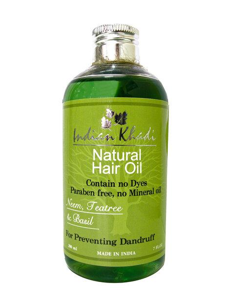 Масло для волос ним чайное дерево базилик Indian Khadi (200 мл) масло для волос хна розмарин амла indian khadi 200 мл