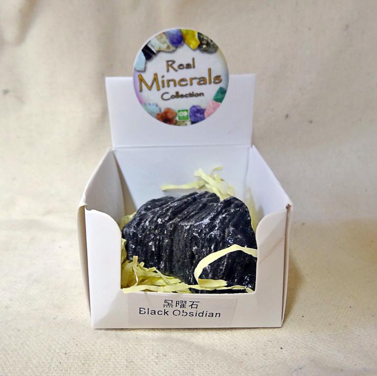 Обсидиан черный минерал/камень в коробочке Real Minerals Collection