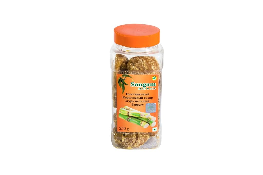 Сахар Гур цельный тросниковый Sangam Herbals (250г) мистраль сахар рафинированный тростниковый в кубиках 1 кг