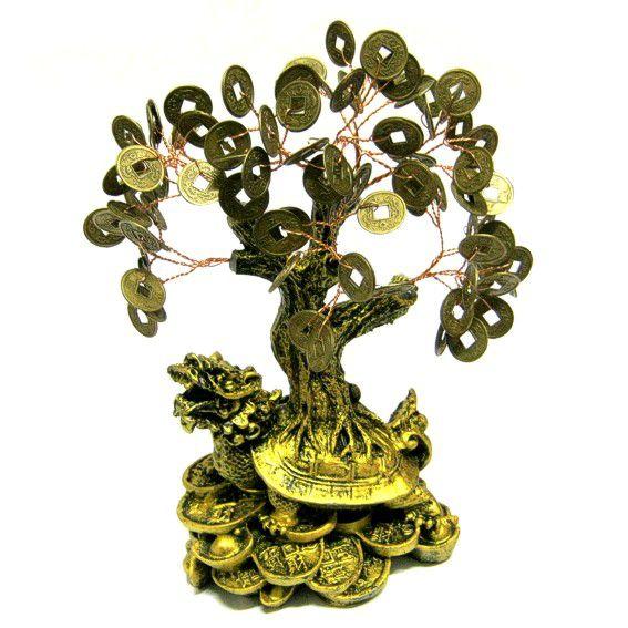 Денежное дерево на драконовой черепахе под бронзу 20см (V014-2 0,3 кг) денежное дерево