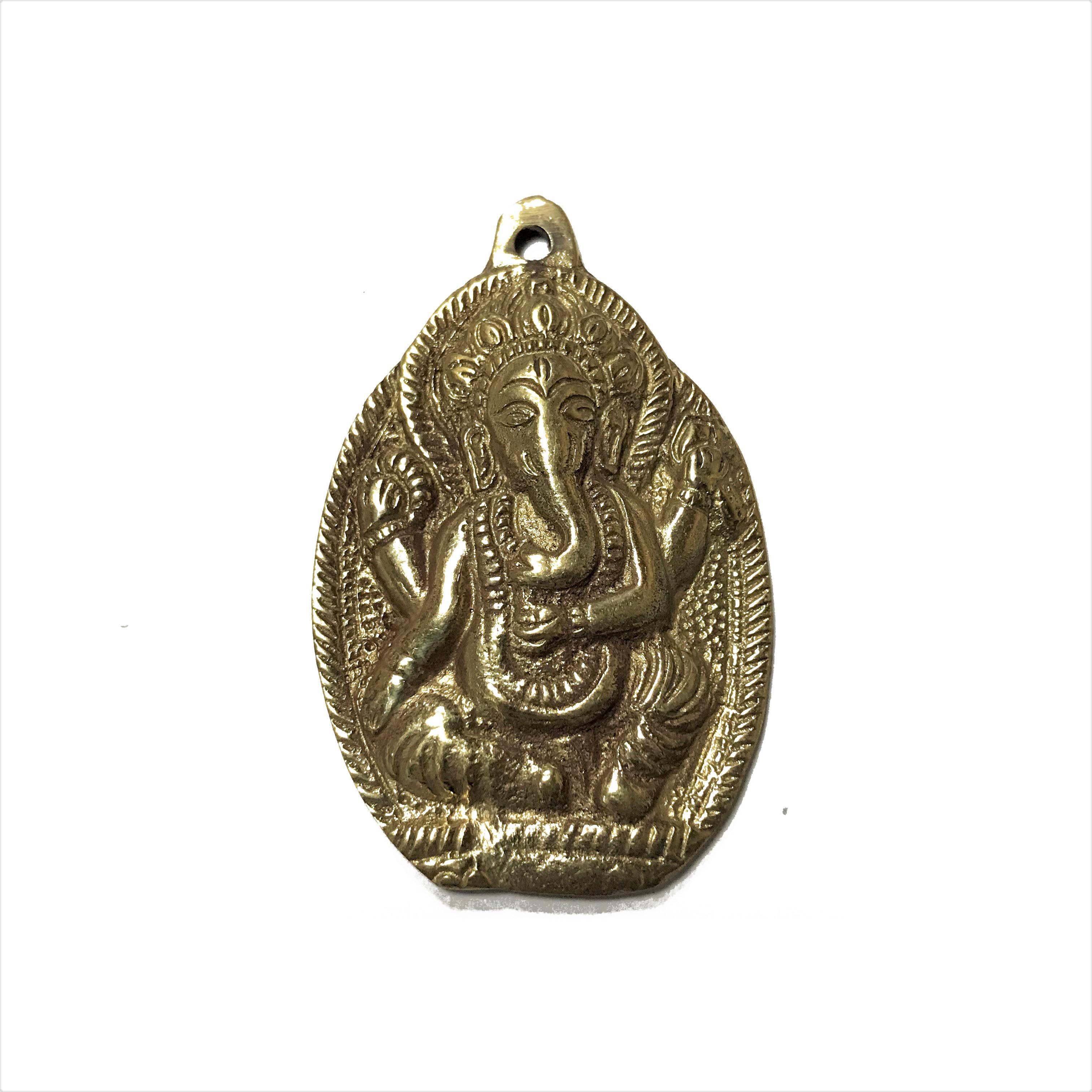 Кулон непальский с ганешей под золото 5,5см