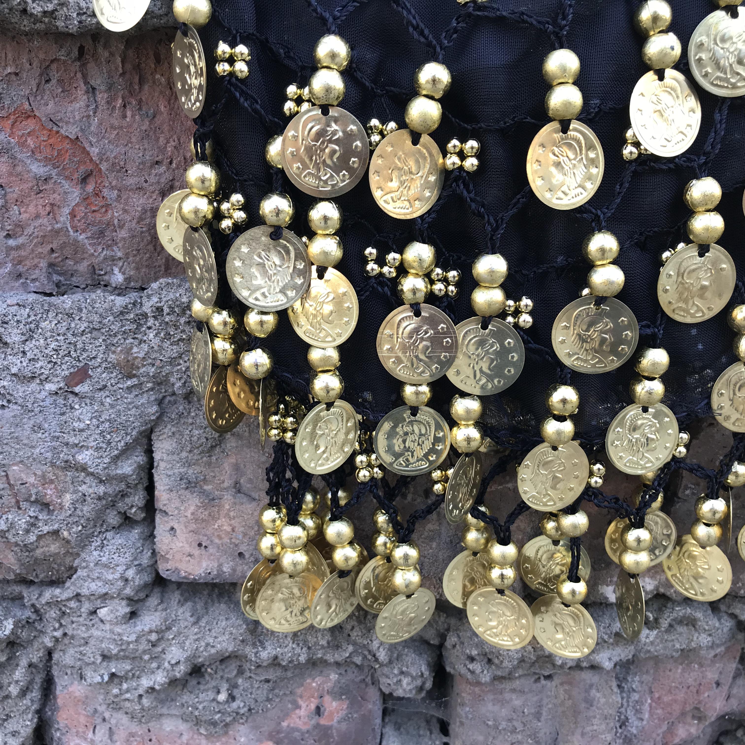 Платок с монетками для танца живота ( черный 0,3 кг 140 см 20см ) шелковая вуаль для танец живота аутентичные шелковые вуали аксессуары для танцев живота королевский синий роза желтый красный