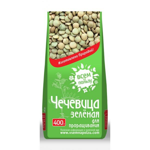Чечевица зеленая для проращивания Всем на пользу ( 400 г ) витамины solgar кальций магний цинк 100 таблеток