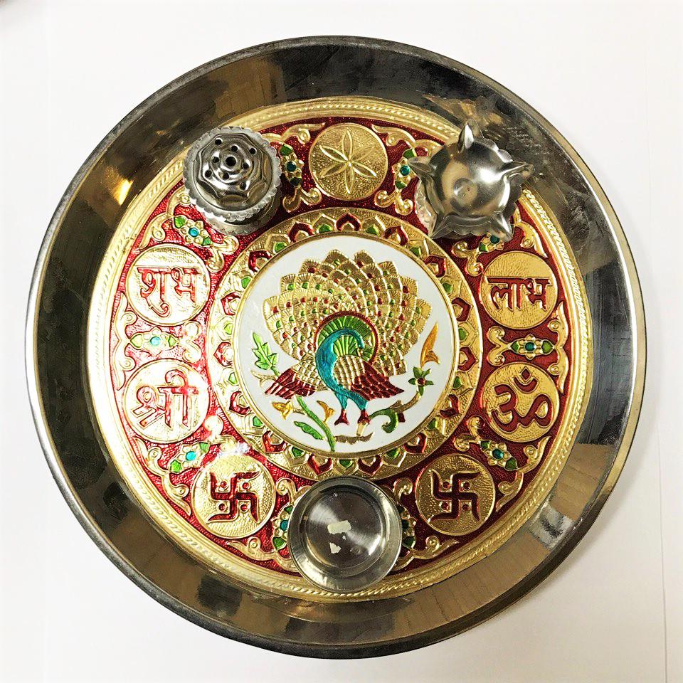 Поднос для пуджи тарелка для подношений божествам 26см (0.5 кг, 25 см)