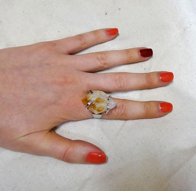 Кольцо с минералом Цитрин