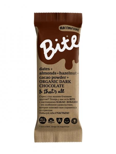 Батончик BITE Настроение какао финики фундук миндаль корица (45 г) компас здоровья корица молотая 60 г