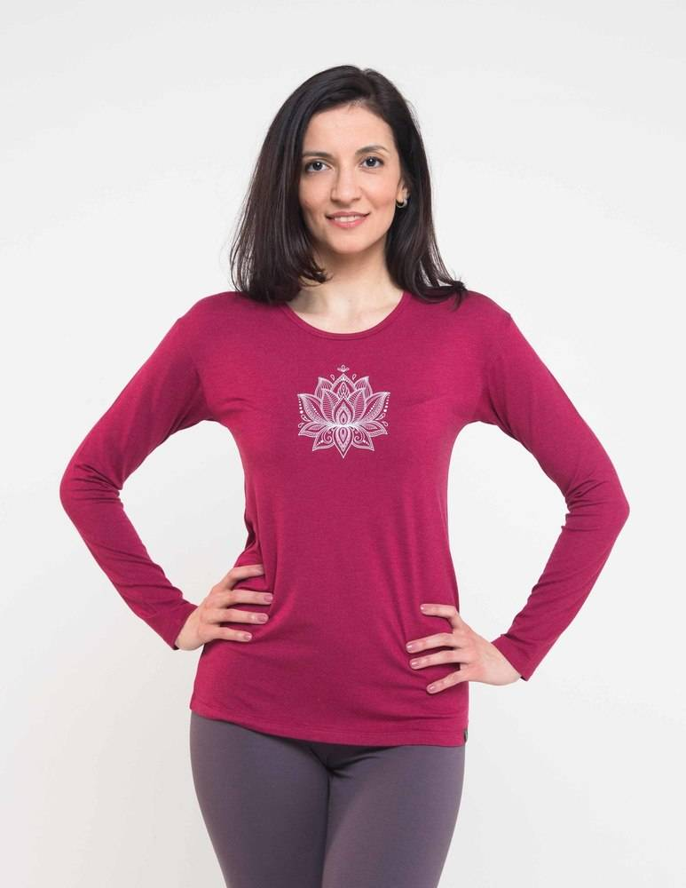 Футболка женская Лотос с длинным рукавом YogaDress ( малиновый 0.2 кг 44 ) женская футболка 2015 v m l xl ruiying 808