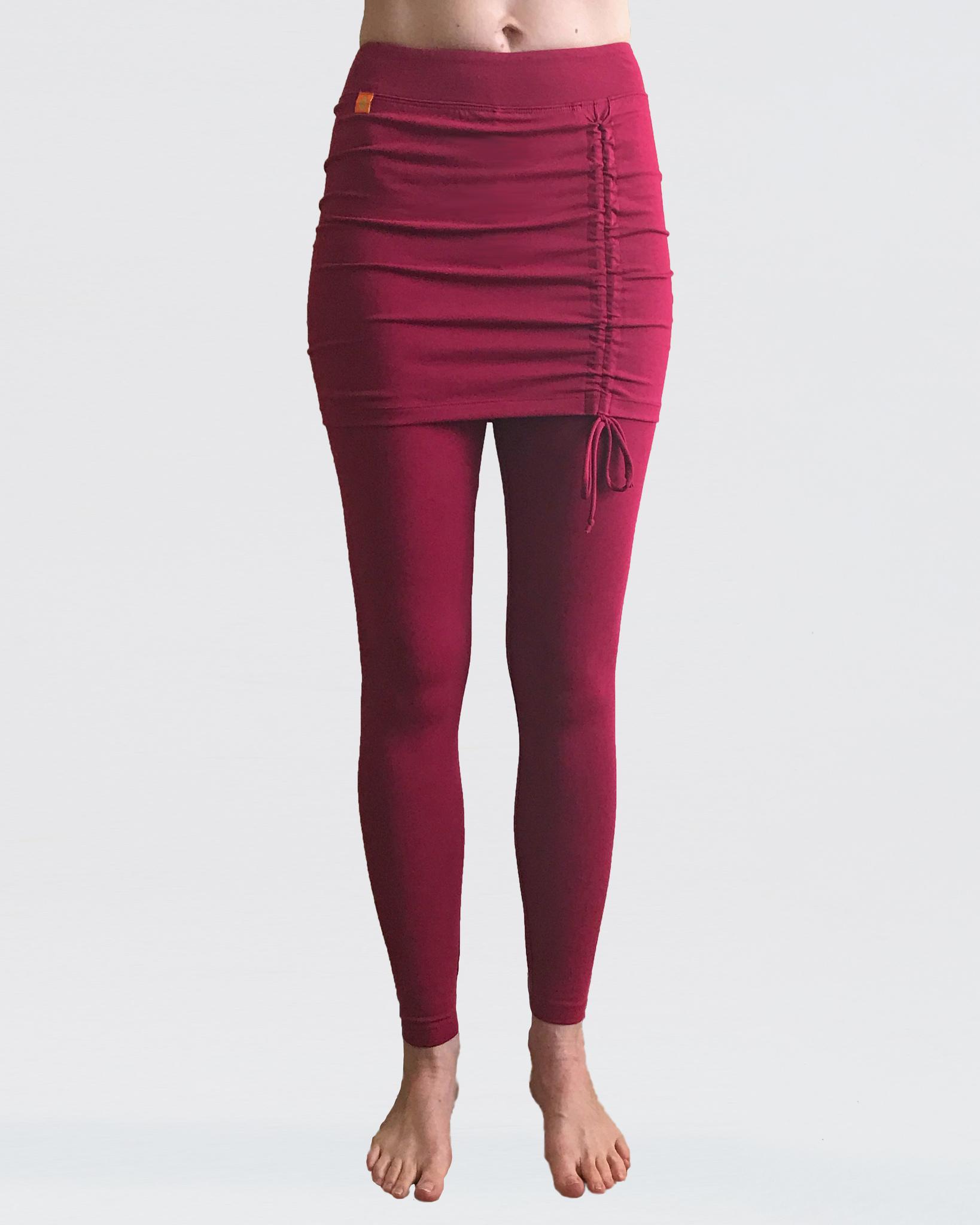 лосины женские длинные yogadress 0 3 кг xl 50 красный клюквенный Леггинсы женские с юбкой бордовые YogaDress (0,2 кг, XS (42), красный)