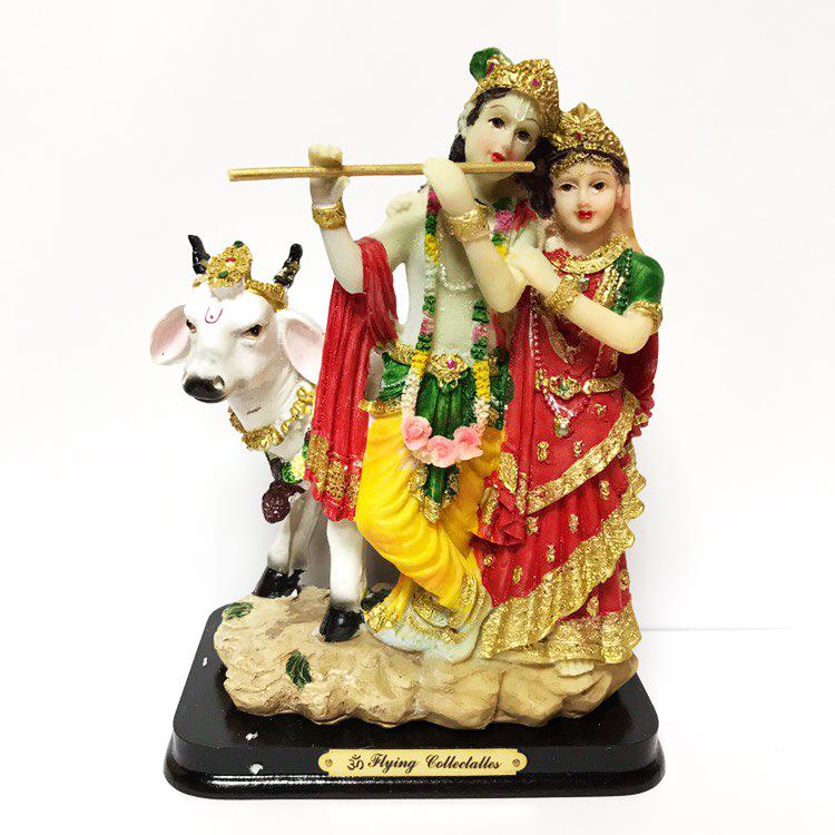 Статуэтка Кришна и Радха с коровой Нанди цветной пластик 17 см (0.5 кг, 17 см, 13 см) цена
