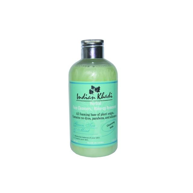 масло Молочко для лица очищающее мята и зеленый чай Indian Khadi (200 мл)