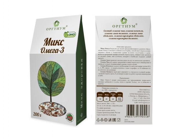 Микс Омега-3 (семена чиа и конопли очищенные, лен светлый и темный, кунжут светлый и темный), ОРГТИУ (200 г)