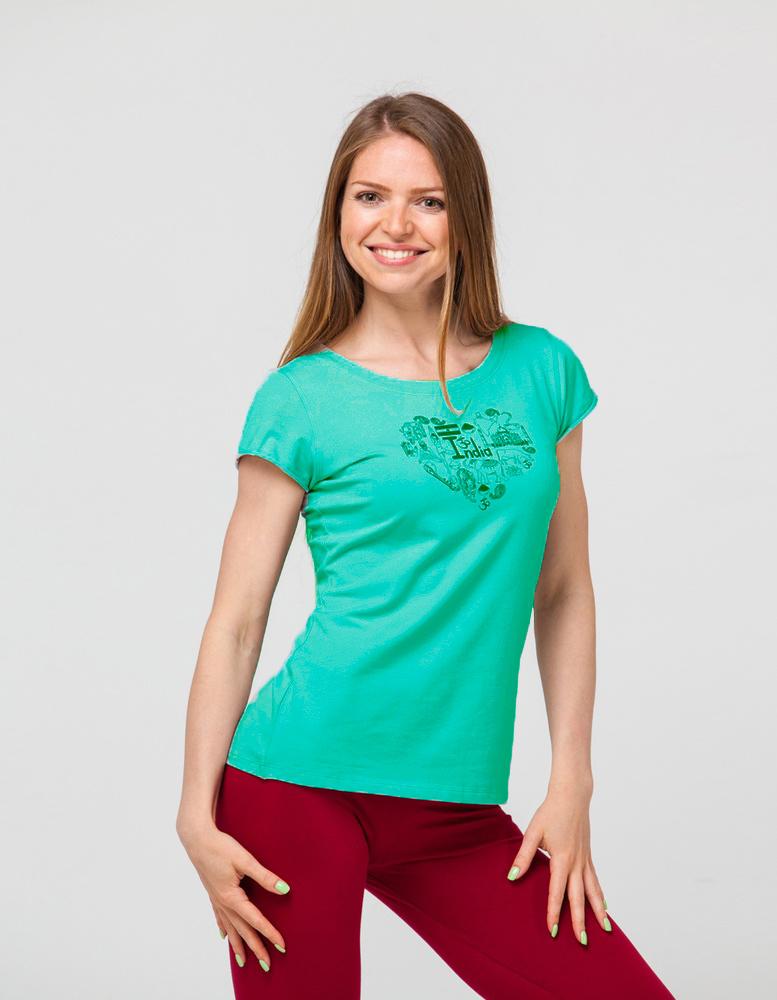 Футболка женская Индия YogaDress (0,3 кг, XL (48-50), зеленый) женская одежда для спорта