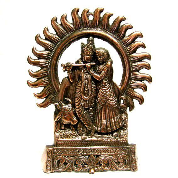 Панно из силумина Кришна и Радха 28 см панно из силумина ганеш на листе 29см